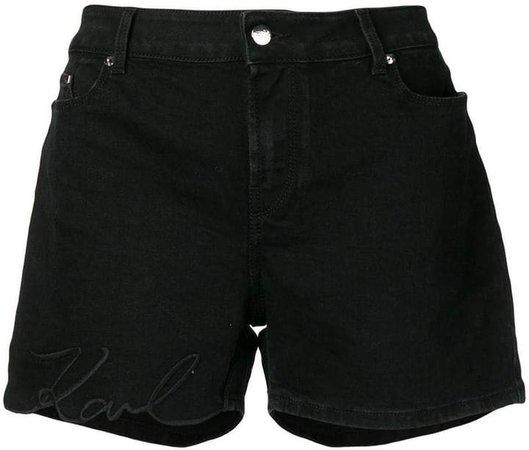 embroidered logo denim shorts