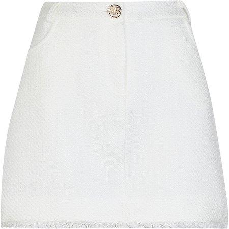River Island white boucle mini skirt