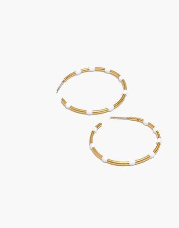 Enamel Bead Medium Hoop Earrings white