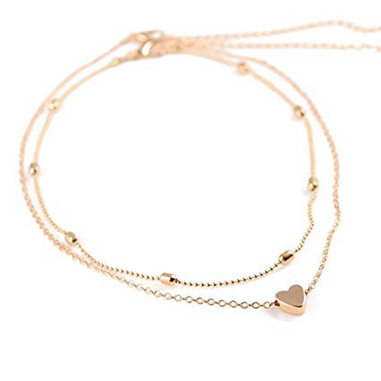 Amazon.com: LittleB Simple Double-deck Choker Heart Pendant Necklace for women and girls. (Gold): Beauty