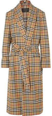 Checked Wool Coat - Beige