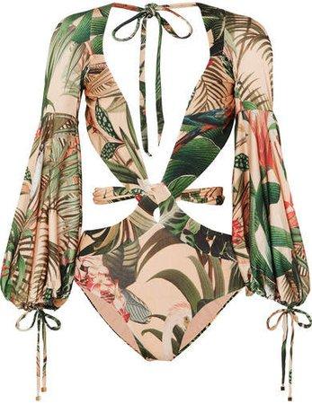 PatBO - Paradise Printed Cutout Swimsuit - Green