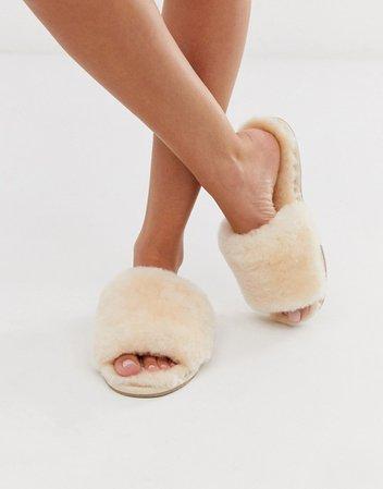 ASOS DESIGN Nola premium sheepskin slippers in beige | ASOS