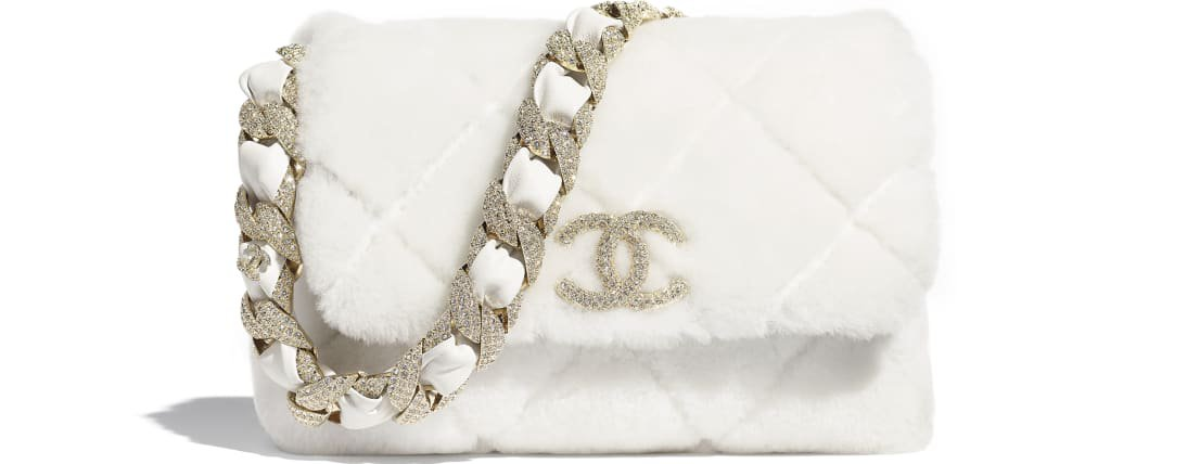 Flap Bag, shearling lambskin, strass & gold-tone metal, white - CHANEL