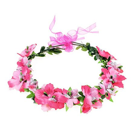 Amazon.com: Love Sweety Girls Boho Rose Floral Crown Wreath Wedding Flower Headband Headpiece (White): Clothing