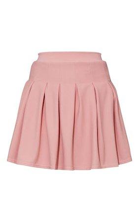 Rose Pleated Side Split Tennis Skirt   Skirts   PrettyLittleThing USA