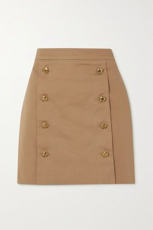Beige Button-embellished cotton-twill mini skirt | Givenchy | NET-A-PORTER
