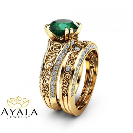 Emerald Gold Wedding Ring