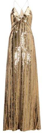 Stardust Sequinned Maxi Dress - Womens - Gold