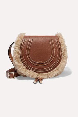 Marcie Mini Shearling-trimmed Textured-leather Shoulder Bag - Brown