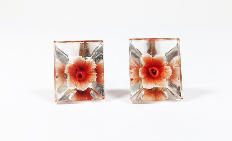 Lucite Flower Earrings Clear Resin Vintage 1960s Floral Orange | Etsy