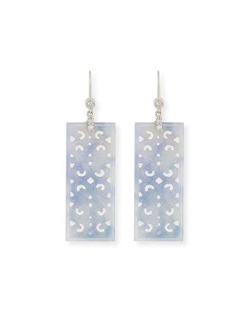 David C.A. Lin Ruth Carved Rectangular Blue Jade Drop Earrings with Diamonds | Neiman Marcus