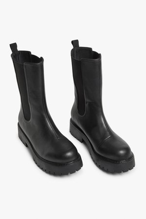 Faux leather ankle boots - Black - Boots - Monki WW