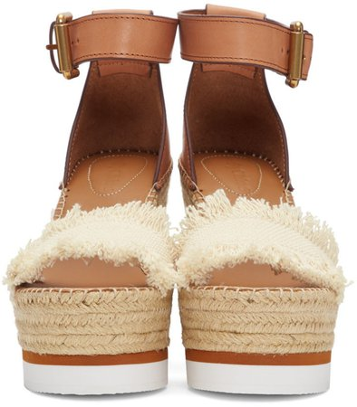 See by Chloé: Off-White Glyn Wedge Espadrilles Sandals | SSENSE