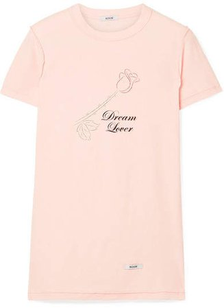 BLOUSE - Dream Lover Printed Cotton-jersey T-shirt - Pastel pink