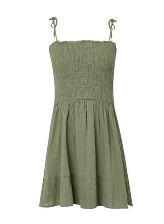PETITE Khaki Textured Tie Sleeve Sundress | Miss Selfridge