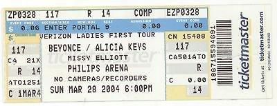 """Beyonce Tickets on Twitter: """"#mrscarter Rare #BEYONCE ALICIA KEYS MISSY ELLIOTT 3/28/04 Atlanta GA Concert Ticket! https://t.co/0hgT3KnMfM #BeyDay #rt https://t.co/jWDO9IqbIk"""" / Twitter"""
