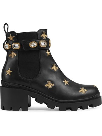 Gucci Embroidered Leather Ankle Boot With Belt - Farfetch