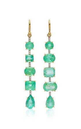 One of a Kind Colombian Emerald Gemmy Gem Earrings by Irene Neuwirth | Moda Operandi