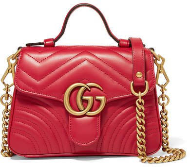 Marmont Mini Quilted Leather Shoulder Bag - Red