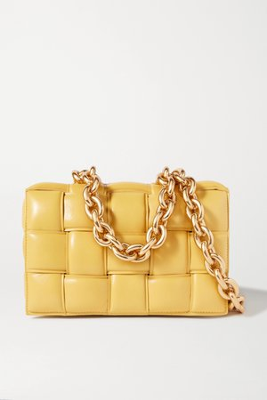 Yellow Cassette chain-embellished padded intrecciato leather shoulder bag | Bottega Veneta | NET-A-PORTER
