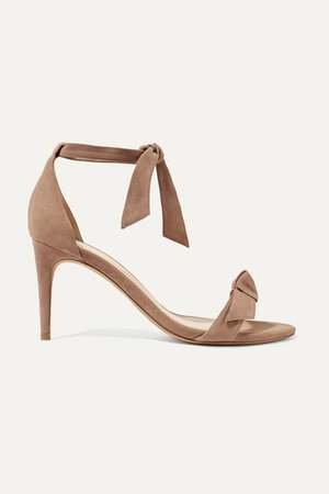 Clarita Bow-embellished Suede Sandals - Taupe