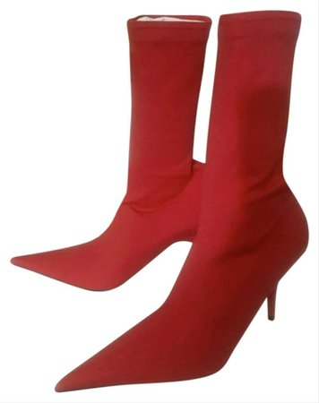 Balenciaga Red Jersey Knife Stretch-jersey Ankle Boots/Booties