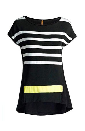 Conquista Striped Sleeveless Top In Black