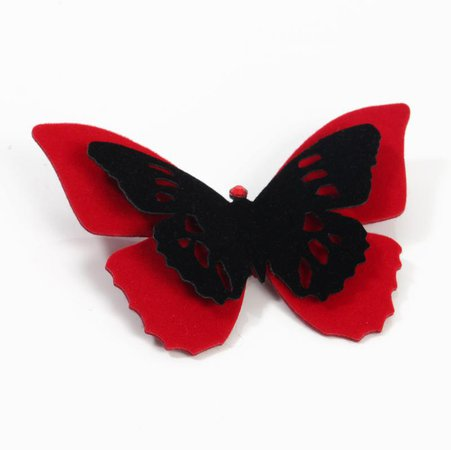 Red and Black Velvet Butterfly Hair Clip   Pin   Choker   Necklace – Fashion Butterflies