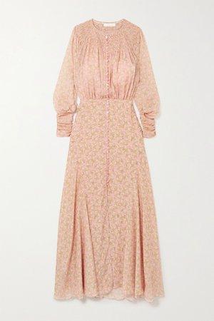 Pink Embellished smocked floral-print silk crepe de chine maxi dress | Chloé | NET-A-PORTER
