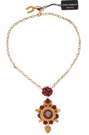 NEW $1200 DOLCE & GABBANA Necklace Gold Brass Red Roses Silver Heart Chain 8058349190625 | eBay