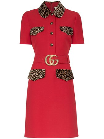 Gucci leopard-print Trim Belted Dress - Farfetch