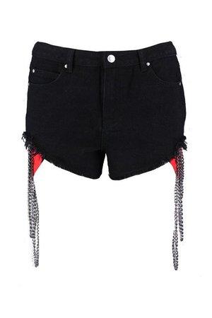 Daisy Chain Detail Denim Shorts | Boohoo black