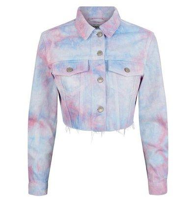 Pink Tie Dye Raw Hem Denim Jacket   New Look