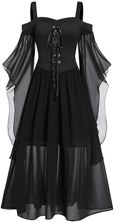 CHARMMA Rose GAL Women's Plus Size Cold Shoulder Butterfly Sleeve Gothic Halloween Dress (Black, L) at Amazon Women's Clothing store
