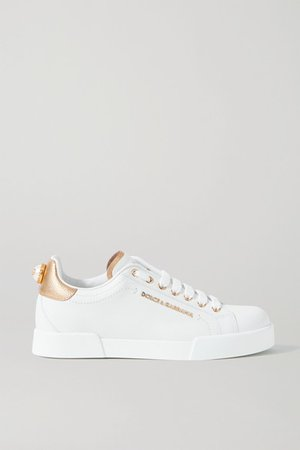 Logo-embellished Leather Sneakers - White