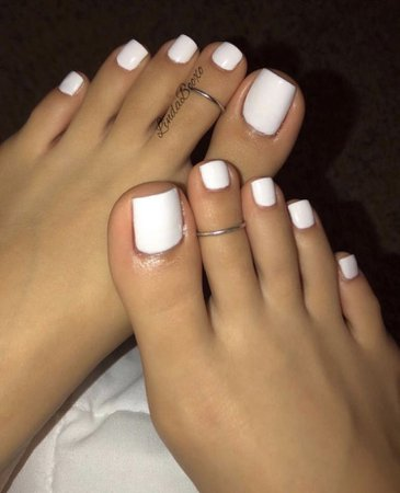 white painted toe nails