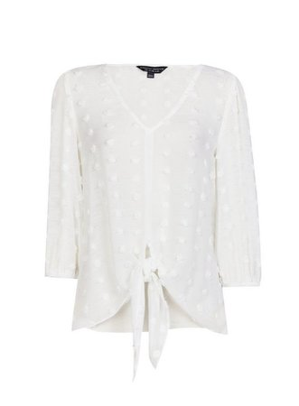 Ivory Tie Spotted 3/4 Sleeve Top | Dorothy Perkins
