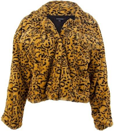 Womens Yellow Cheetah Leopard Animal Print Faux Fur Jacket Short Coat – Size Small at Amazon Women's Coats Shop