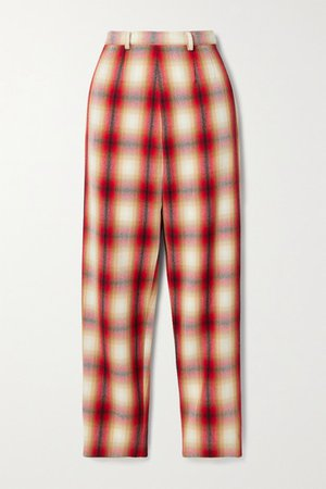 Checked Wool-twill Straight-leg Pants - Red