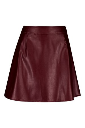 Leather Look A Line Mini Skirt | Boohoo