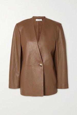 Leather Blazer - Brown