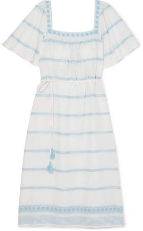Embroidered Linen And Cotton-blend Gauze Dress - Ivory