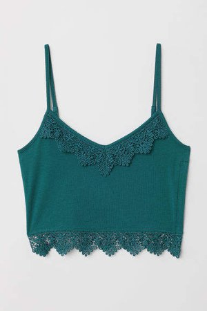 Short Tank Top with Lace - Turquoise