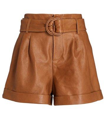 FRAME Leather Belted Paperbag Shorts | INTERMIX®