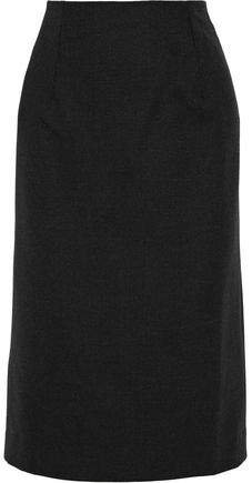 Melange Stretch-wool Twill Skirt