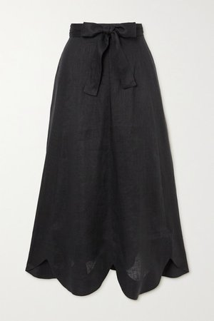 Riders Belted Scalloped Linen Midi Skirt - Black