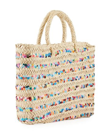 Hat Attack Large Rainbow Sequin Stripe Straw Tote Bag