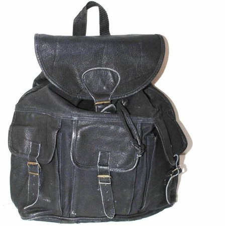 Reserved oversized black leather backpack 90s grunge unisex huge