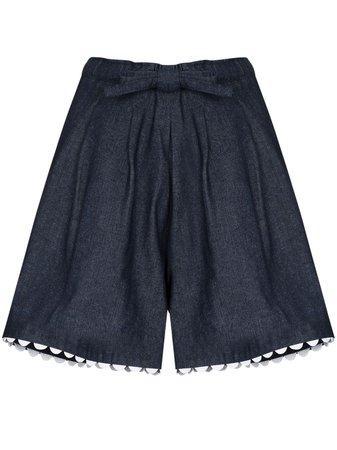 Shop blue Kika Vargas Elsie scallop-edge denim shorts with Express Delivery - Farfetch